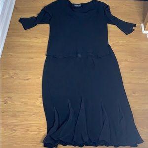 S.L. Fashion Size 14 Black Skirt and Blouse Set